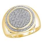 10kt Yellow Gold Mens Round Pave-set Diamond Circle Frame Cluster Ring 1/2 Cttw