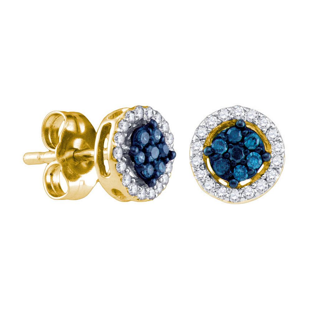 10k Yellow Gold Womens Round Blue Color Enhanced Diamond Cluster Stud Screwback Earrings 1/4 Cttw