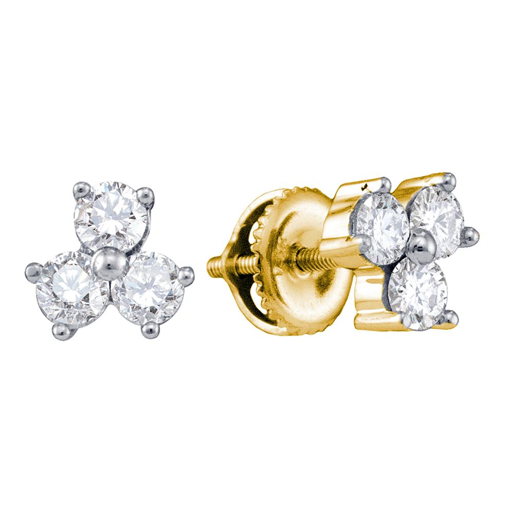 14kt Yellow Gold Womens Round Diamond Stud Earrings 1/2 Cttw