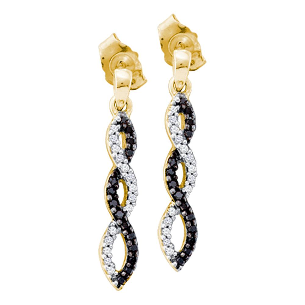 14kt Yellow Gold Womens Round Black Color Enhanced Diamond Infinity Dangle Earrings 1/6 Cttw