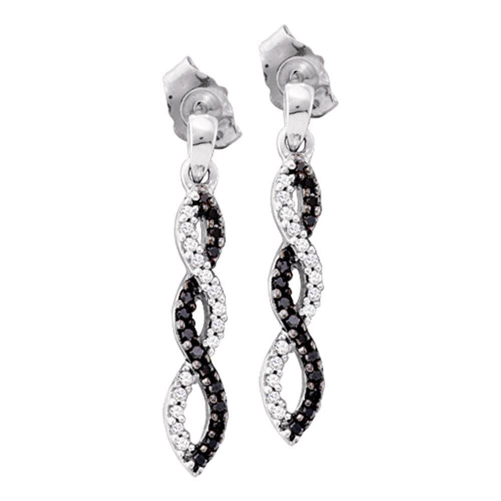 14kt White Gold Womens Round Black Color Enhanced Diamond Infinity Dangle Earrings 1/6 Cttw