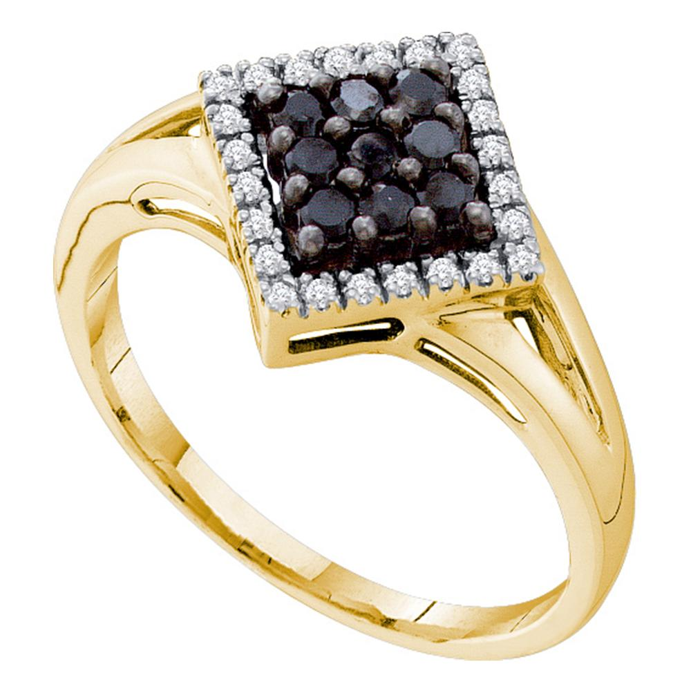 14kt Yellow Gold Womens Round Black Color Enhanced Diamond Square Cluster Ring 1/5 Cttw