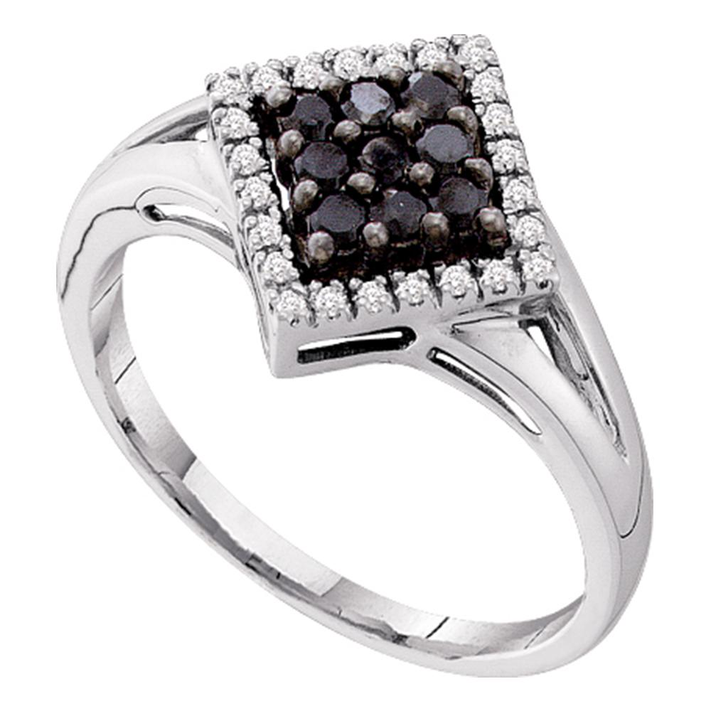 14kt White Gold Womens Round Black Color Enhanced Diamond Square Cluster Ring 1/5 Cttw