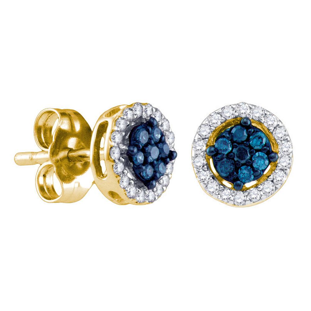 14k Yellow Gold Womens Round Blue Color Enhanced Diamond Cluster Stud Screwback Earrings 1/4 Cttw