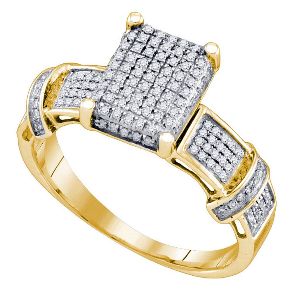 Yellow-tone Sterling Silver Womens Round Diamond Rectangle Cluster Ring 1/3 Cttw