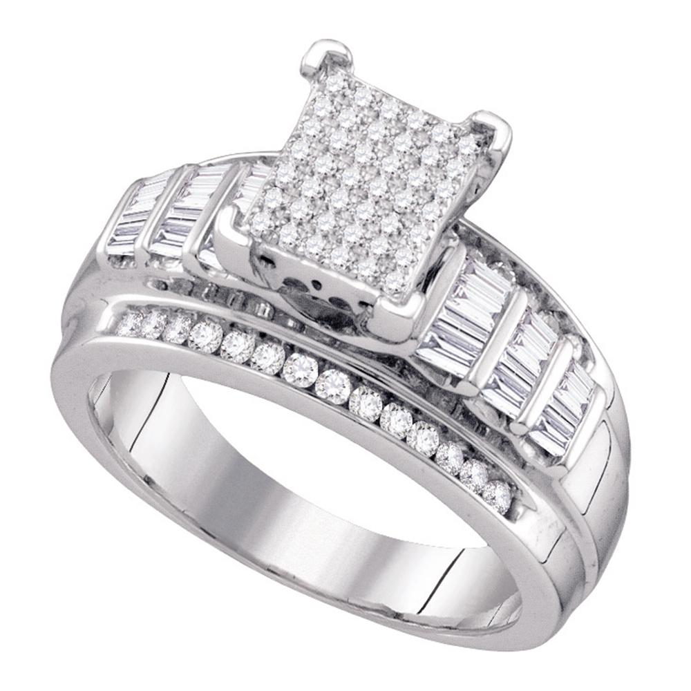Sterling Silver Womens Round Diamond Cluster Bridal Wedding Engagement Ring 5/8 Cttw