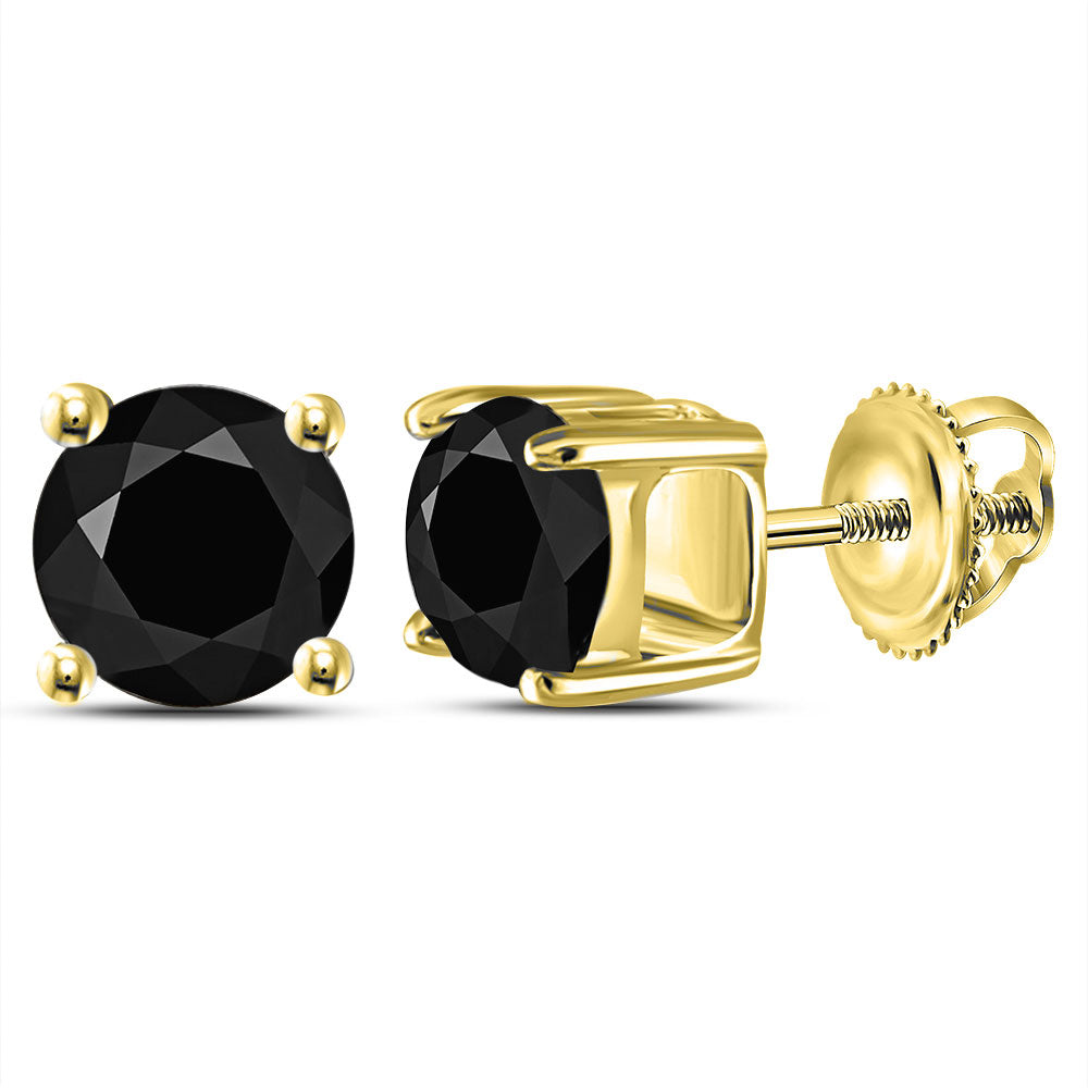 10kt Yellow Gold Womens Round Black Color Enhanced Diamond Solitaire Stud Earrings 2.00 Cttw