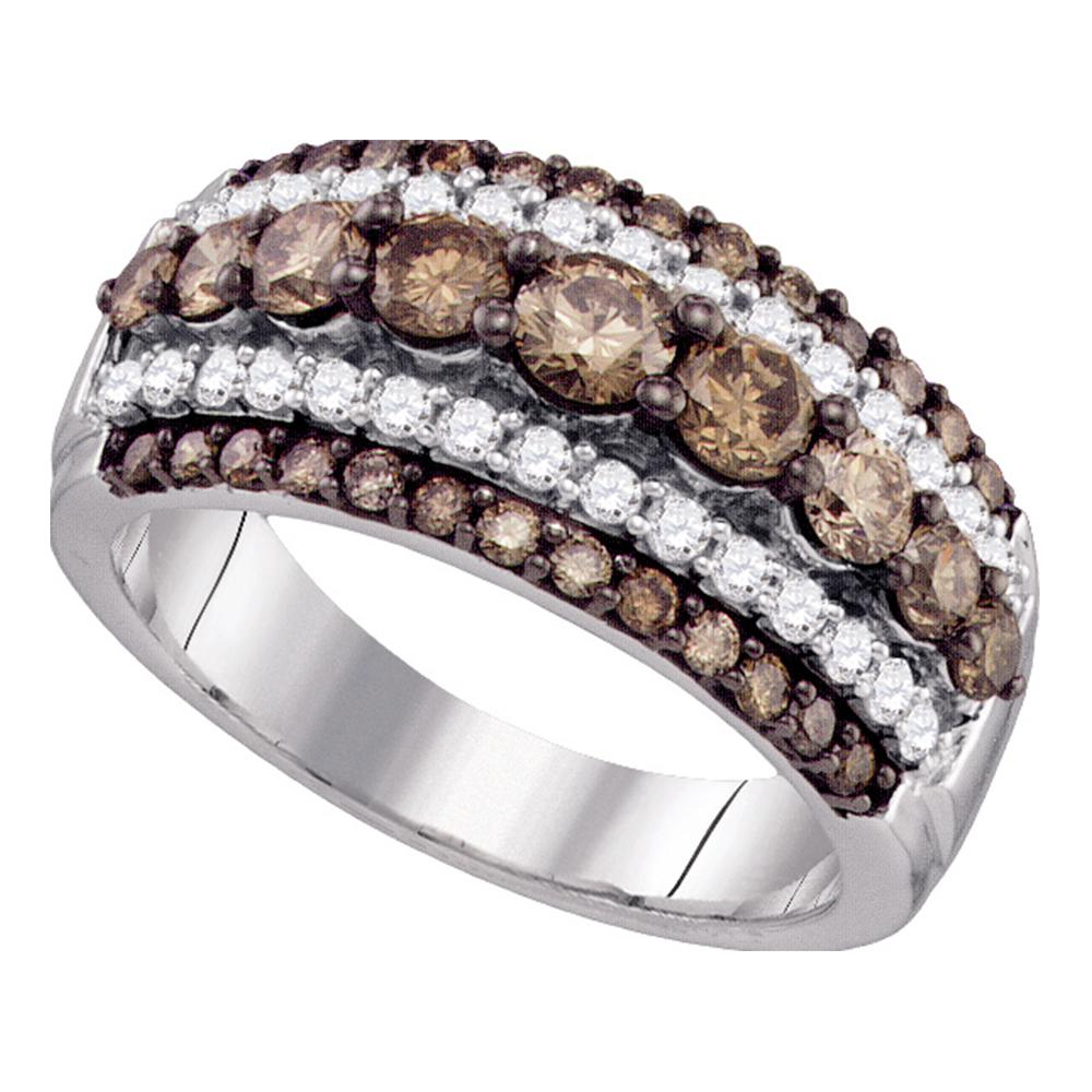 10kt White Gold Womens Round Cognac-brown Color Enhanced Diamond Fancy Cocktail Ring 1-1/2 Cttw