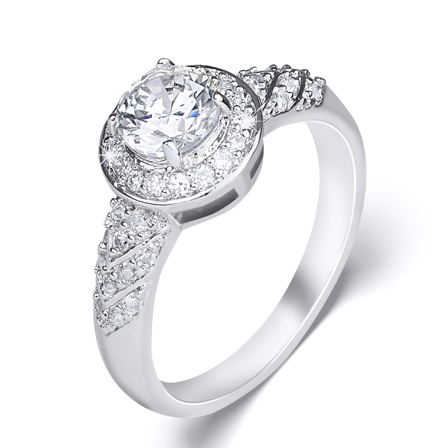 Women's 0.75 CT Carat ROUND CUT Engagement RING White Gold Plated Size 5-7