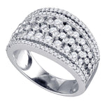 10kt White Gold Womens Round Diamond Symmetrical Fashion Band Ring 1-1/5 Cttw