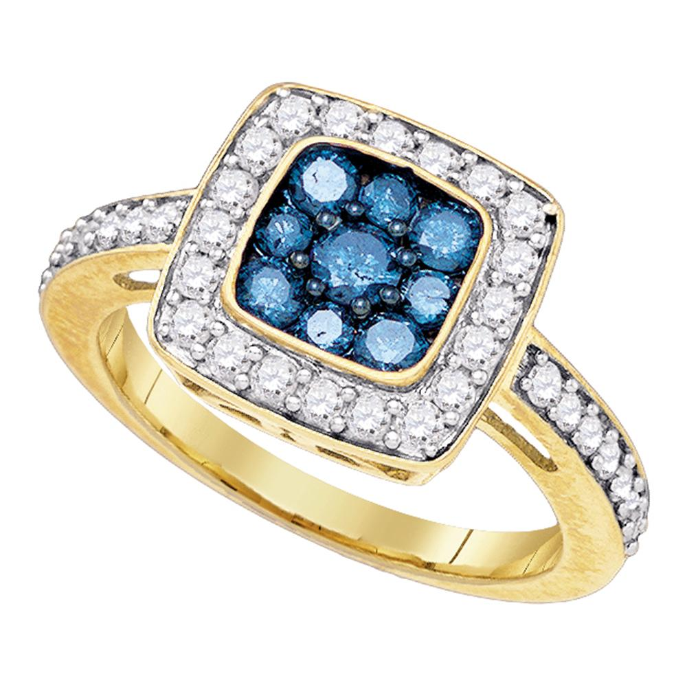 10kt Yellow Gold Womens Round Blue Color Enhanced Diamond Square Frame Cluster Ring 1.00 Cttw