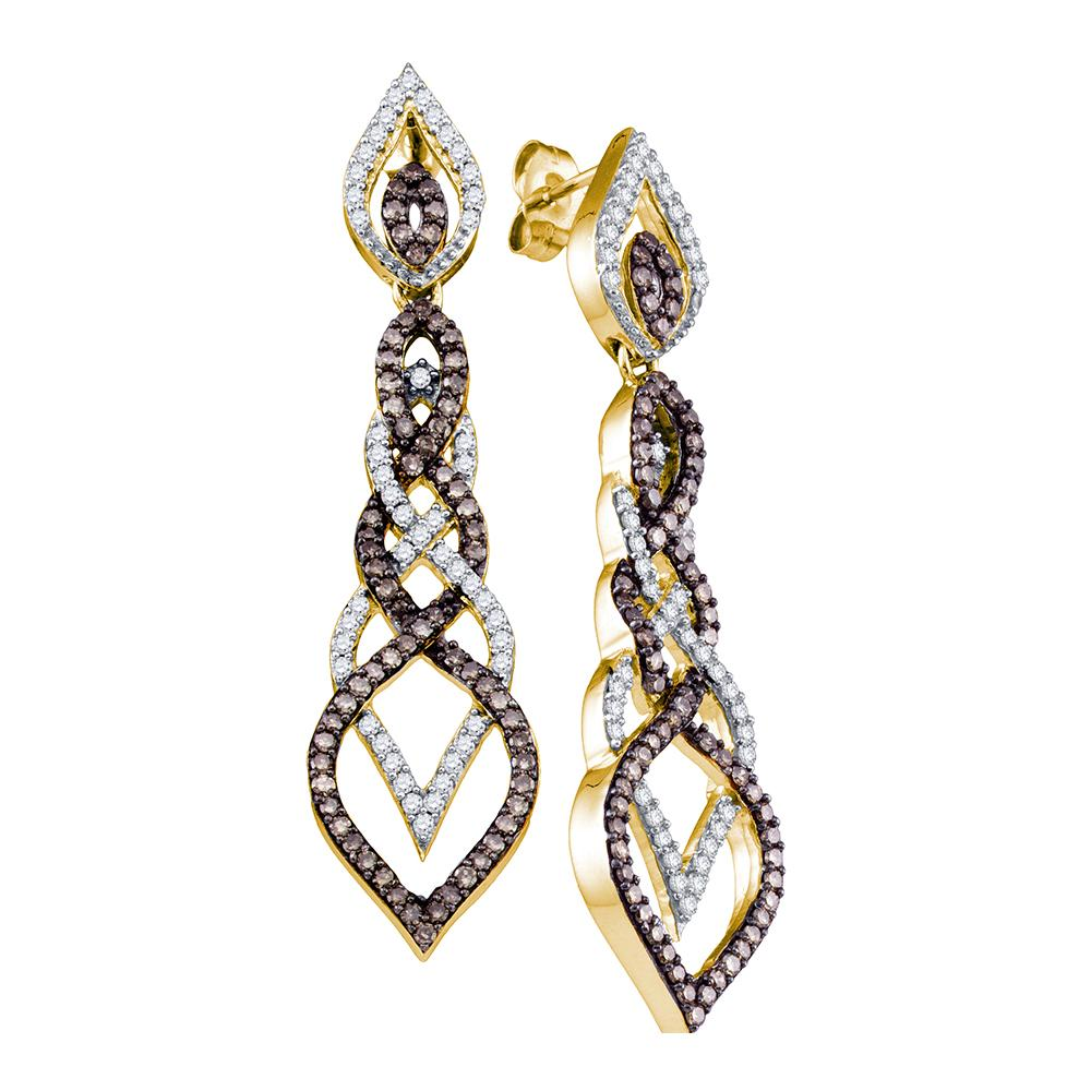 10kt Yellow Gold Womens Cognac-brown Color Enhanced Diamond Dangle Earrings 1-1/2 Cttw