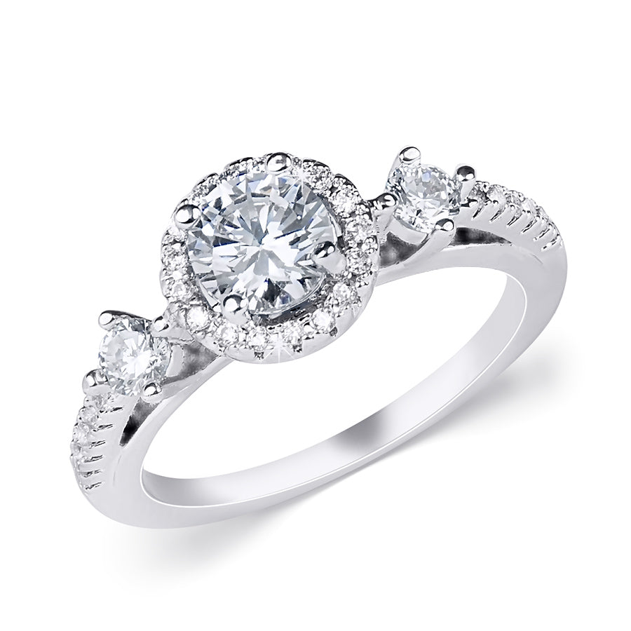 0.75 CT Fashion Wedding Engagement Promise RING White Gold Plated Size 5-9