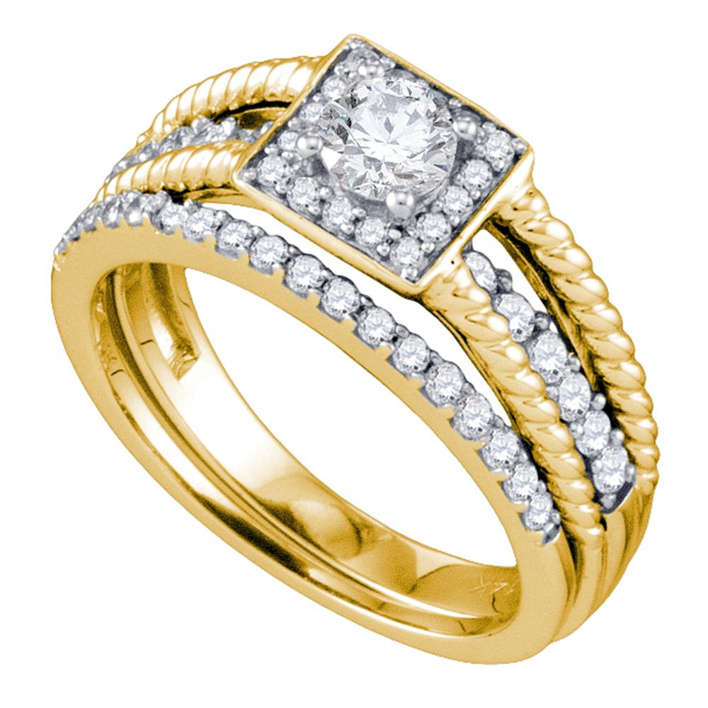 14kt Yellow Gold Womens Round Diamond Halo Bridal Wedding Engagement Ring Band Set 7/8 Cttw
