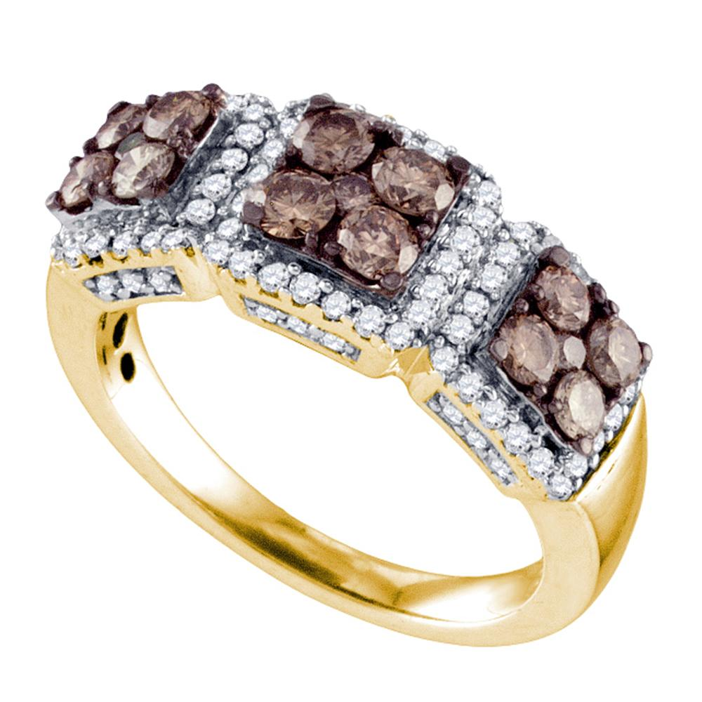 10kt Yellow Gold Womens Round Cognac-brown Color Enhanced Diamond Cluster Band 1-1/3 Cttw