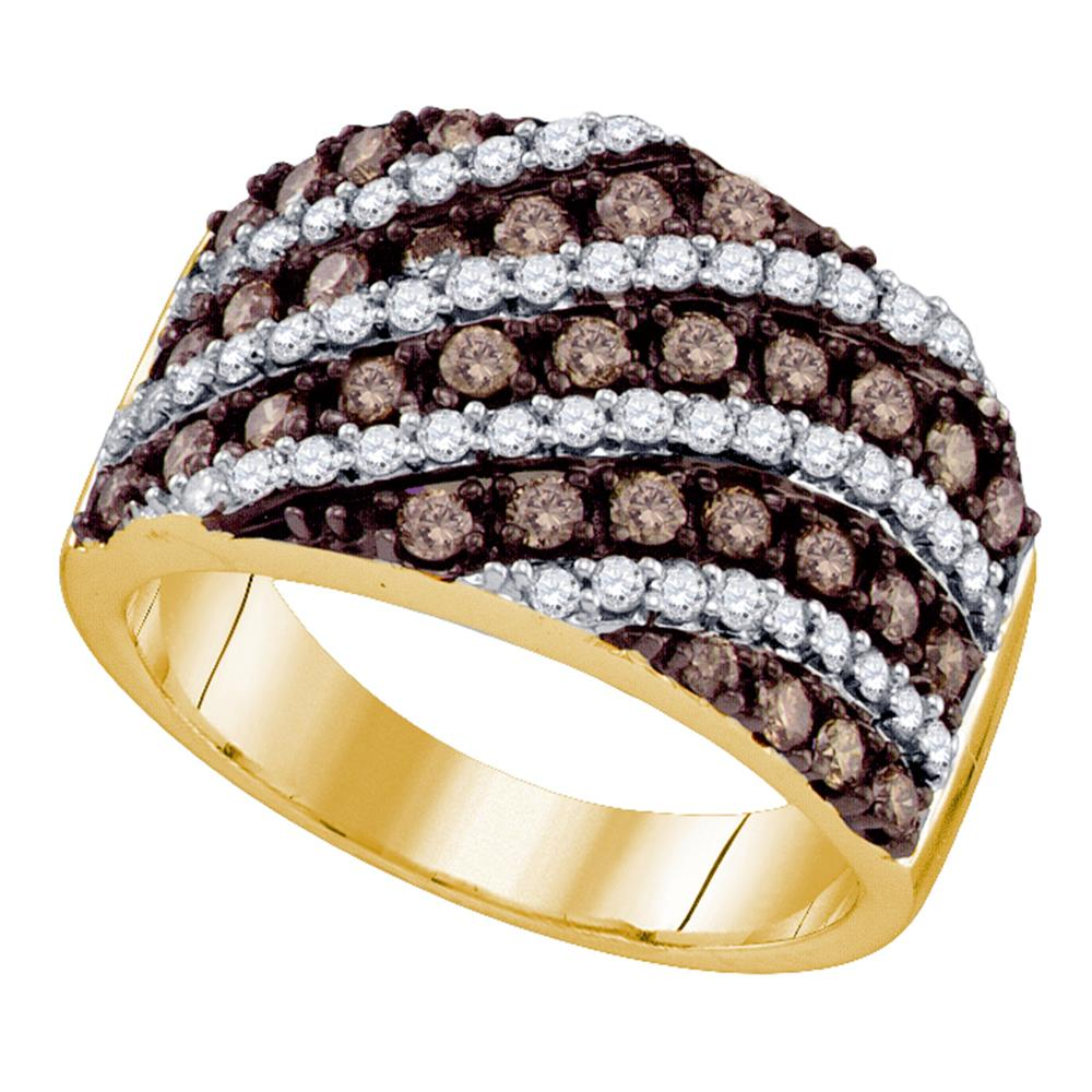 10kt Yellow Gold Womens Round Cognac-brown Color Enhanced Diamond Striped Band Ring 1-1/3 Cttw