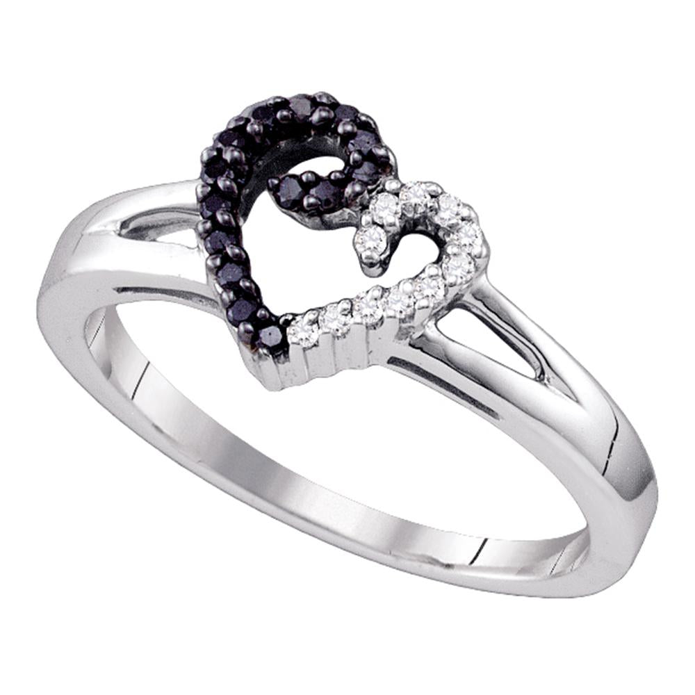 Sterling Silver Black Color Enhanced White Diamond Heart Love Ring 1/6 Cttw Size 8
