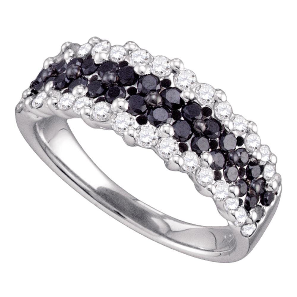 10kt White Gold Womens Round Black Color Enhanced Diamond Band Ring 1-1/10 Cttw