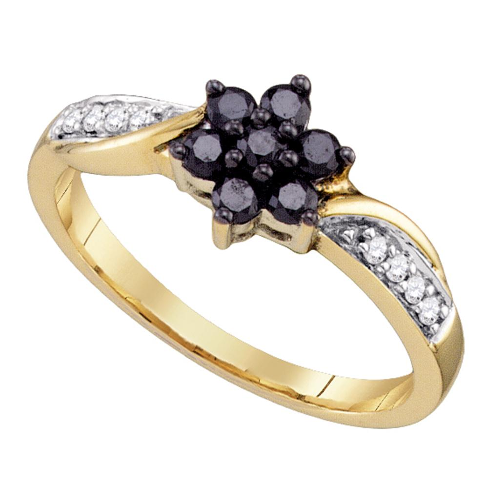 10kt Yellow Gold Womens Round Black Color Enhanced Diamond Cluster Ring 1/3 Cttw