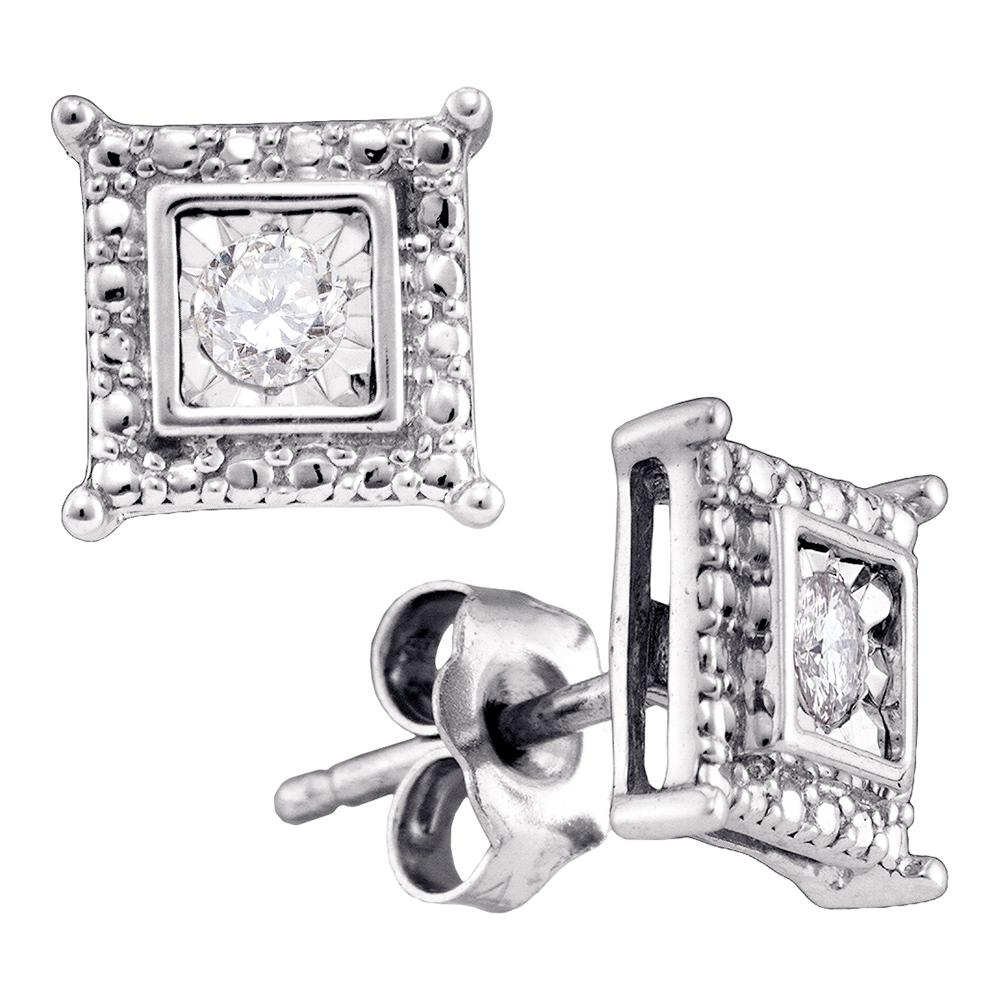 Sterling Silver Womens Round Diamond Solitaire Square Screwback Stud Earrings 1/20 Cttw