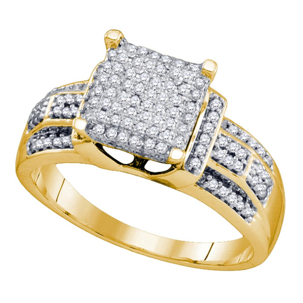 10kt Yellow Gold Womens Round Diamond Square Cluster Bridal Wedding Engagement Ring 3/8 Cttw