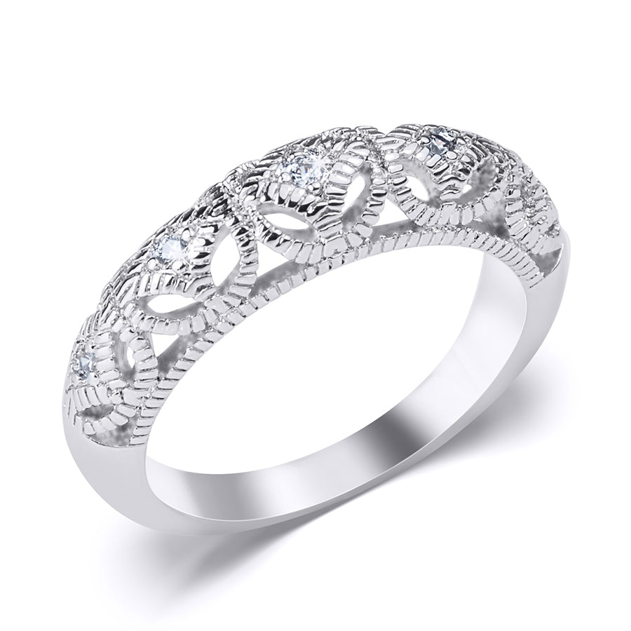 0.17 CT Vintage Inspired Fashion Wedding BAND RING White Gold Plated