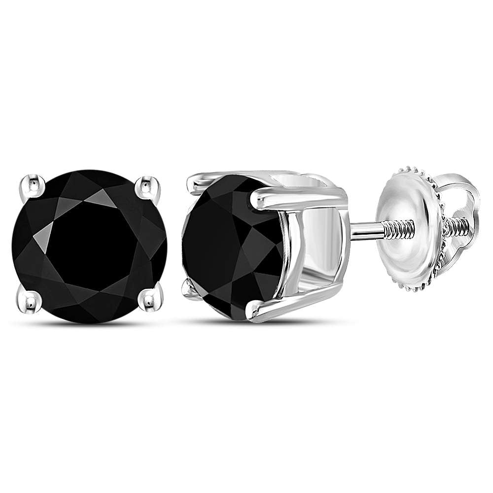 10kt White Gold Unisex Round Black Color Enhanced Diamond Solitaire Stud Earrings 4.00 Cttw