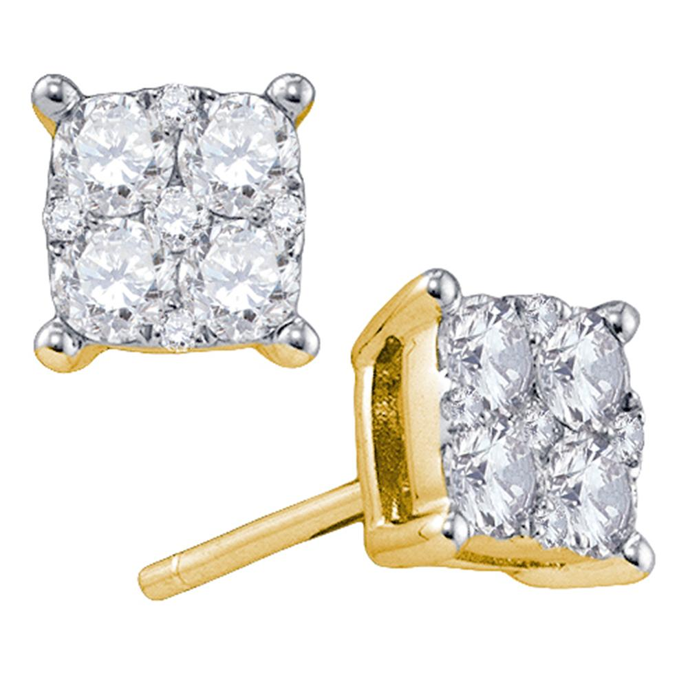 18kt Yellow Gold Womens Round Diamond Cluster Screwback Earrings 5/8 Cttw