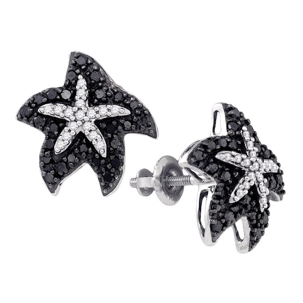 10kt White Gold Womens Round Black Color Enhanced Diamond Starfish Stud Earrings 3/8 Cttw