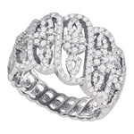 10kt White Gold Womens Round Diamond Striped Cluster Fashion Band Ring 1-1/20 Cttw