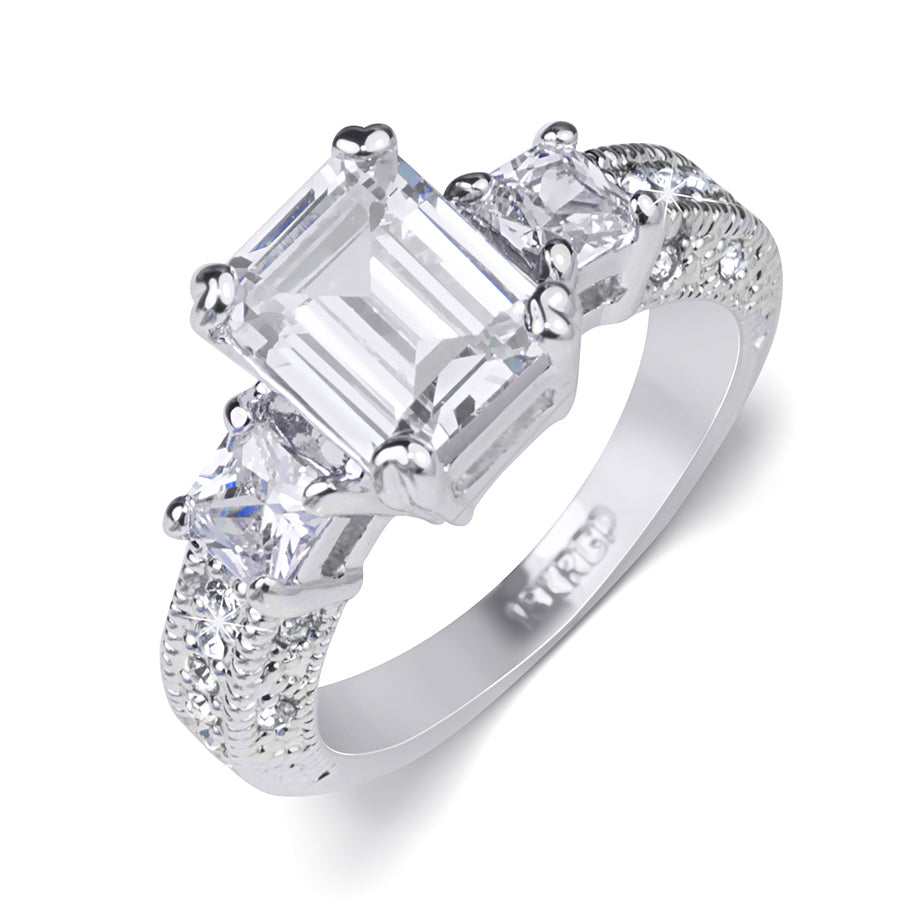 Women's 1.75 Carat EMERALD CUT Engagement RING White Gold Plated Size 5-9