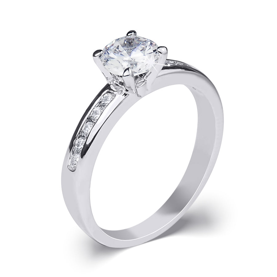 Women's 0.84 CT Carat ROUND CUT Engagement RING White Gold Plated Size 5-9