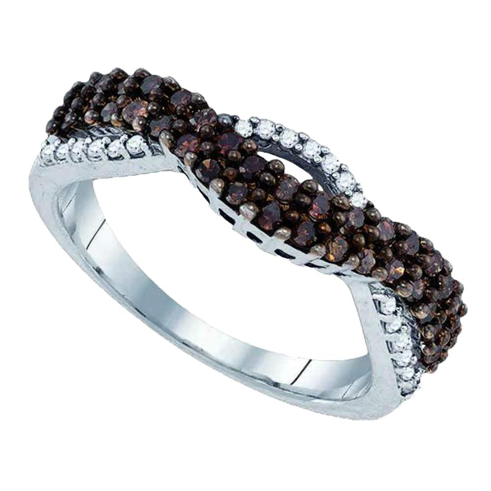 Sterling Silver Womens Round Cognac-brown Color Enhanced Diamond Double Row Band 1/2 Cttw