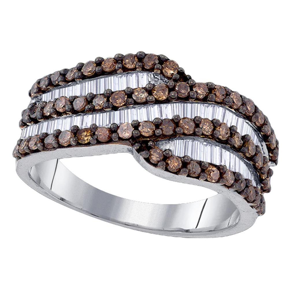 Sterling Silver Womens Round Cognac-brown Color Enhanced Diamond Crossover Band 1-1/3 Cttw