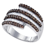 Sterling Silver Womens Round Cognac-brown Color Enhanced Diamond Stripe Band 1-1/20 Cttw