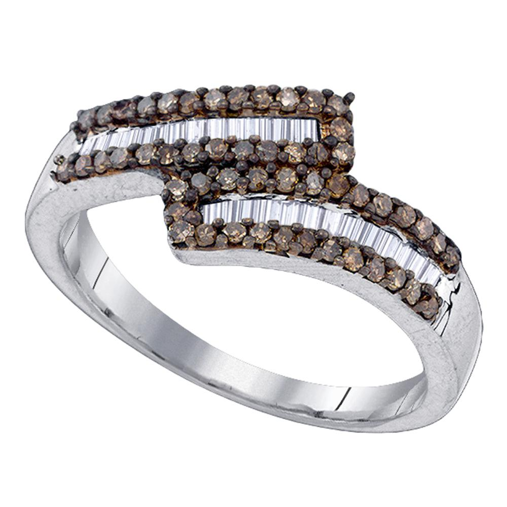 Sterling Silver Womens Round Cognac-brown Color Enhanced Diamond Bypass Band Ring 1/2 Cttw