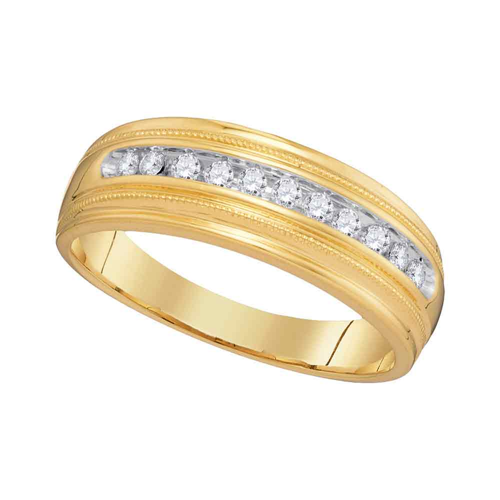 10kt Yellow Gold Mens Round Diamond Single Row Milgrain Wedding Band Ring 1/4 Cttw