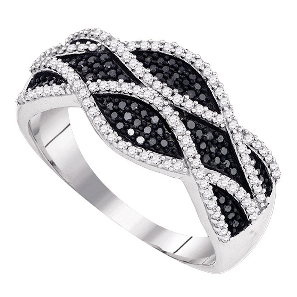 10kt White Gold Womens Round Black Color Enhanced Diamond Woven Twist Stripe Band Ring 3/8 Cttw