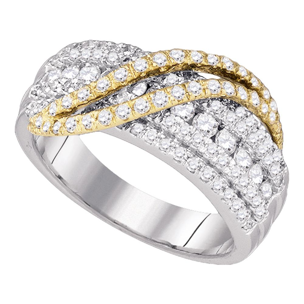 10kt White Gold Womens Round Diamond Yellow-tone Crossover Stripe Band Ring 1.00 Cttw