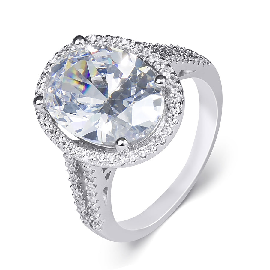 6.0 CT Carat Brilliant OVAL CUT Engagement RING White Gold Plated Size 5-9