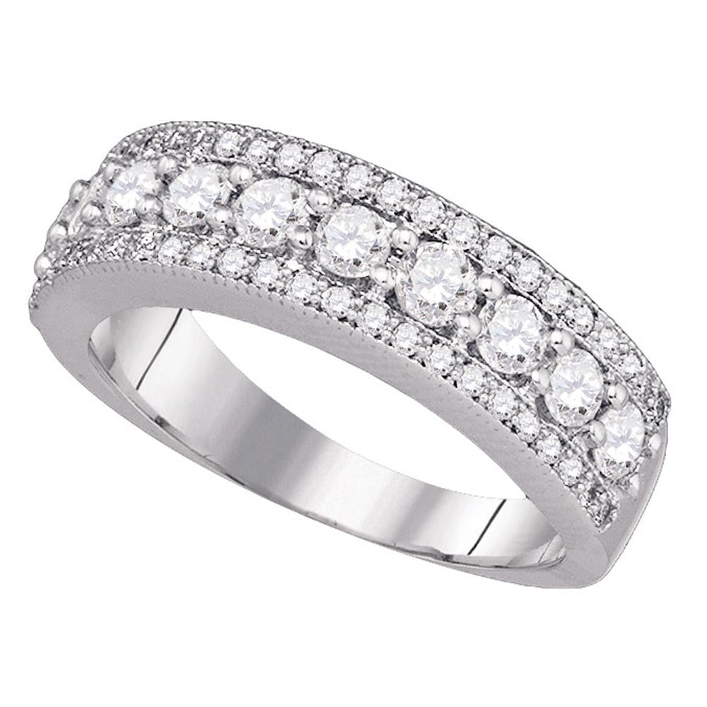 14kt White Gold Womens Round Pave-set Diamond Symmetrical Parallel Band 1 Cttw