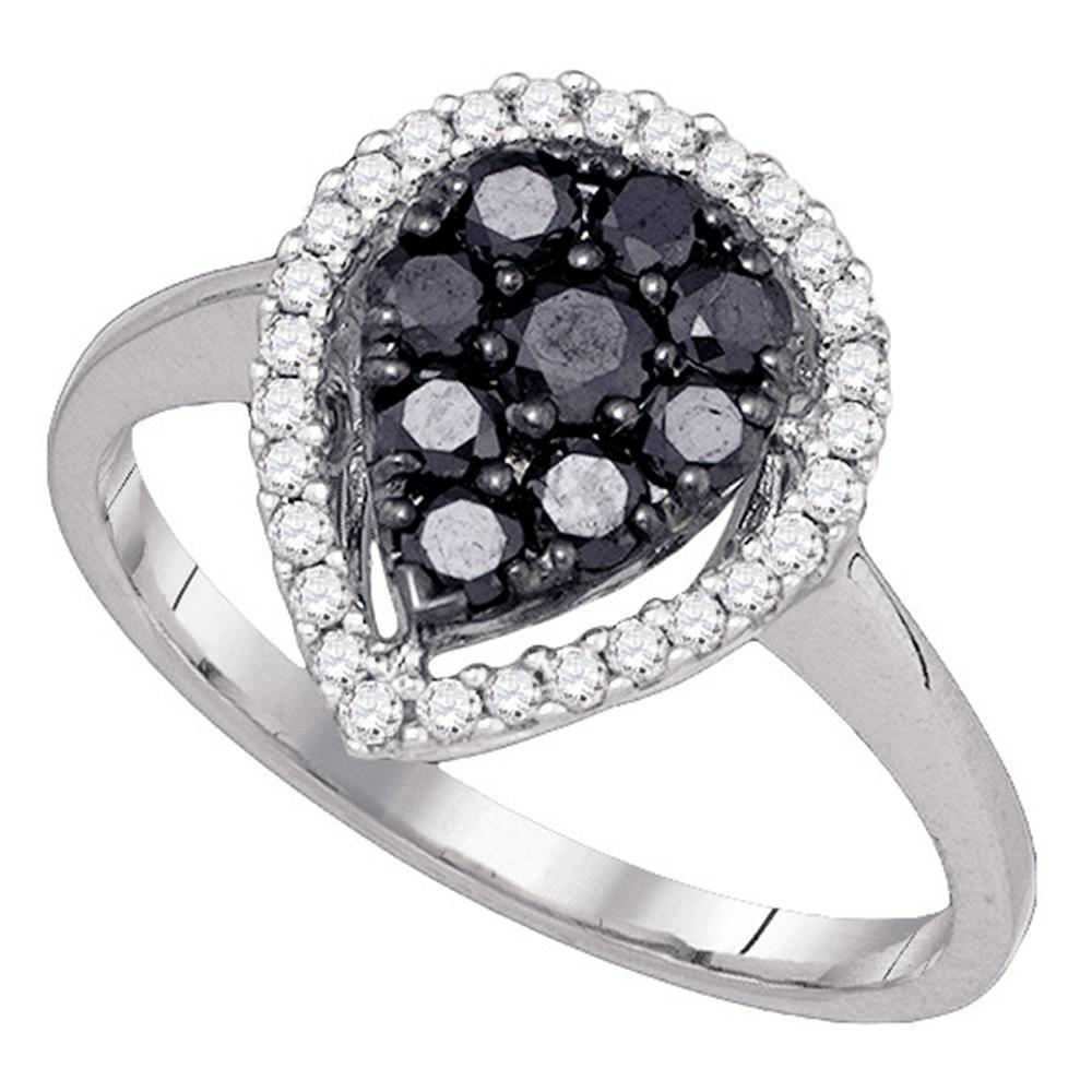 10kt White Gold Womens Round Black Color Enhanced Diamond Cluster Ring 3/4 Cttw