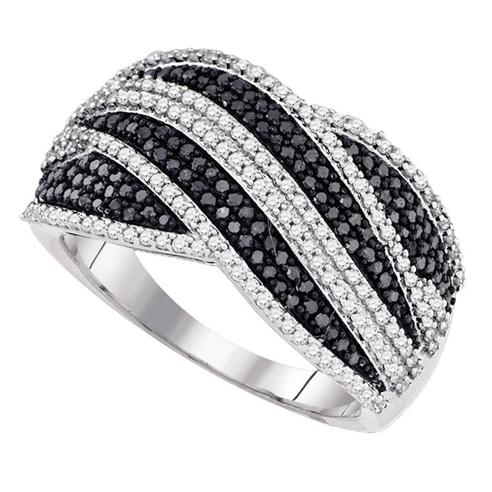 10kt White Gold Womens Round Black Color Enhanced Diamond Cocktail Ring 3/4 Cttw