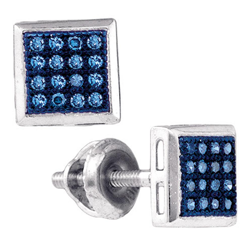 10k White Gold Womens Blue Color Enhanced Diamond Square Cluster Screwback Stud Earrings 1/10 Cttw