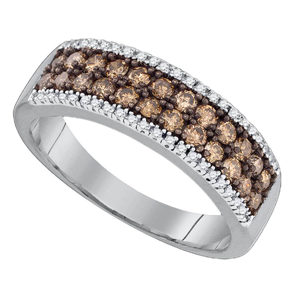 14kt White Gold Womens Round Cognac-brown Color Enhanced Diamond 2-row Band Ring 3/4 Cttw