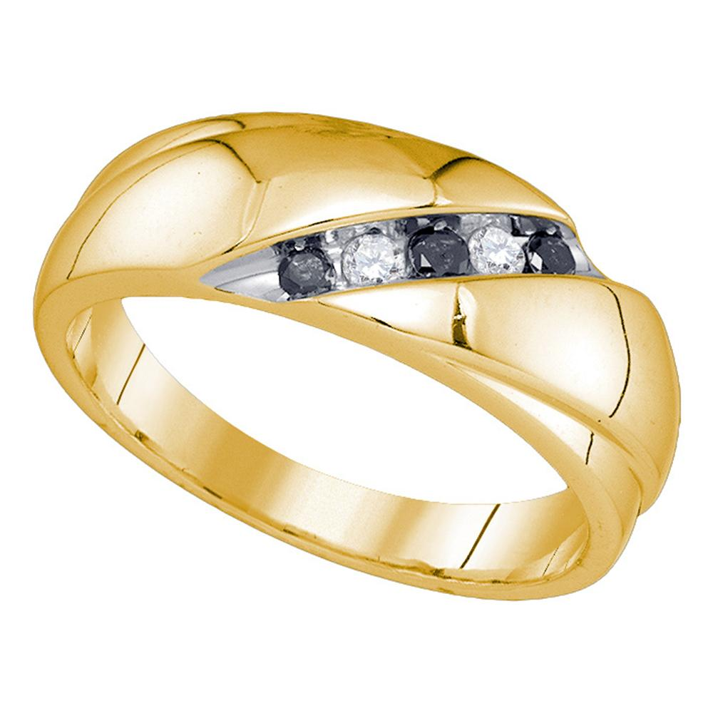 10kt Yellow Gold Mens Round Black Color Enhanced Diamond Wedding Band Ring 1/5 Cttw