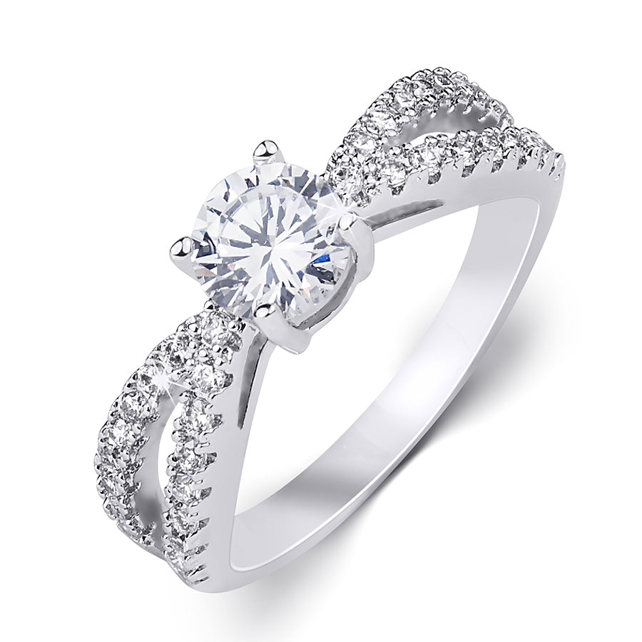 Women's 0.75 CT Carat ROUND CUT Engagement RING White Gold Plated Size 5-9