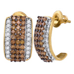 10kt Yellow Gold Womens Round Cognac-brown Color Enhanced Diamond Hoop Earrings 1-7/8 Cttw