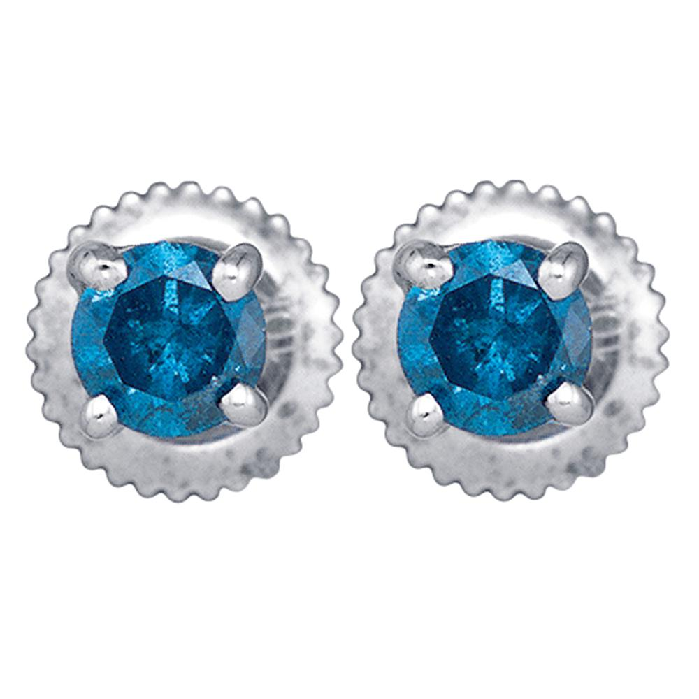 10kt White Gold Womens Round Blue Color Enhanced Diamond Solitaire Stud Earrings 1/4 Cttw