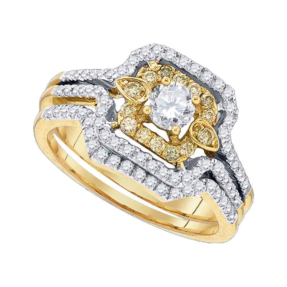 14kt Yellow Gold Womens Yellow Diamond Round Bridal Wedding Engagement Ring Band Set 3/4 Cttw